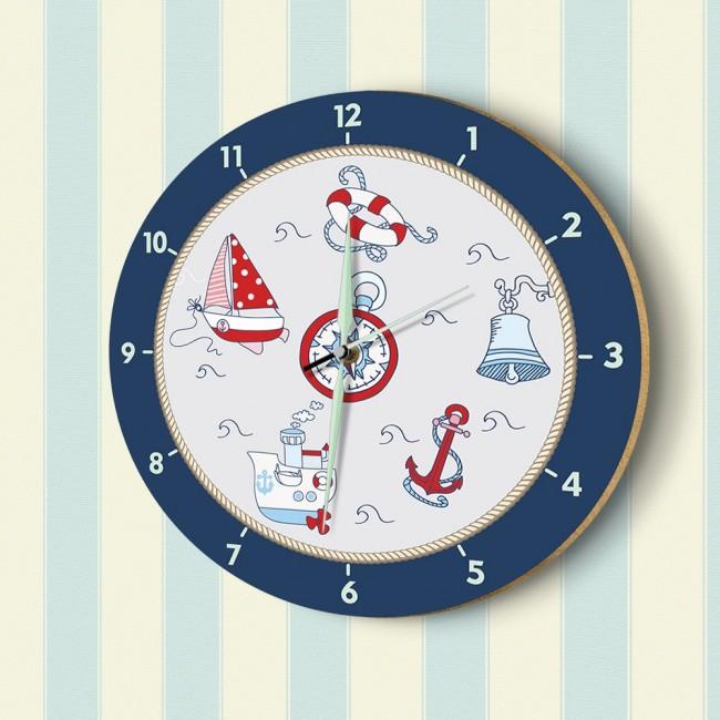 DekorLoft - DekorLoft Denizci Fosforlu Çocuk Odası Duvar Saati YFS-1435