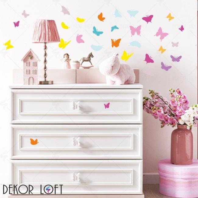 DekorLoft - DekorLoft Renkli Kelebekler Çocuk Odası Duvar Sticker CS-218