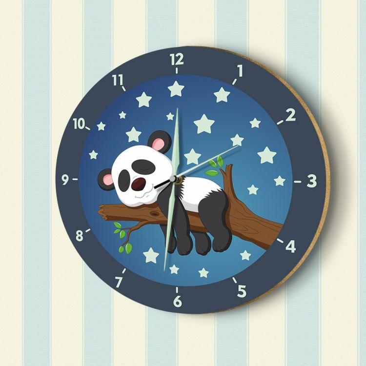 DekorLoft - DekorLoft Uyuyan Panda Fosforlu Çocuk Odası Duvar Saati YFS-1448