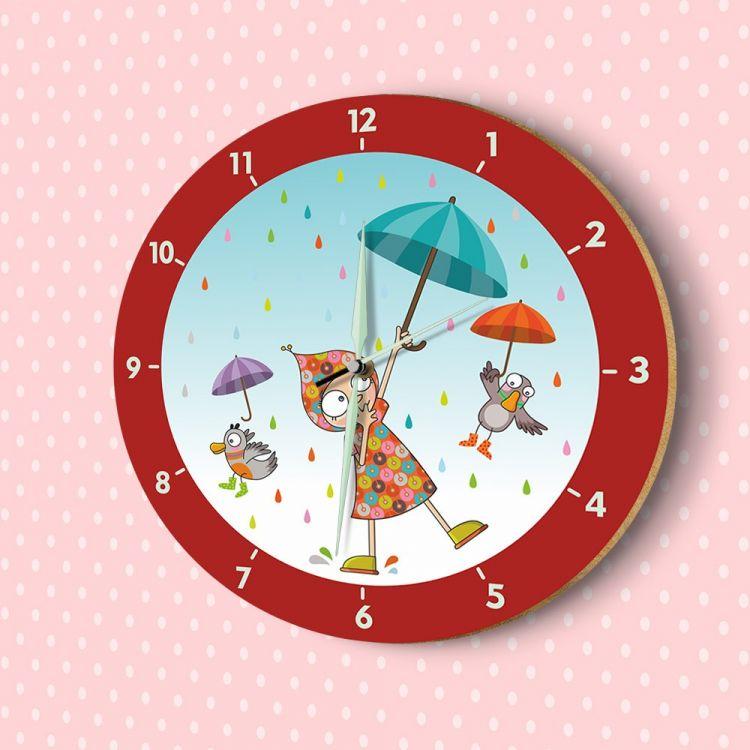 DekorLoft - DekorLoft Yağmurlu Gün Fosforlu Çocuk Odası Duvar Saati YFS-1445
