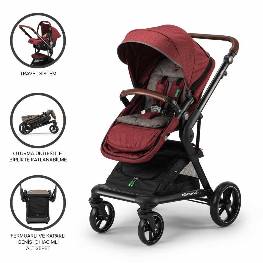 Elele Allroad Travel Sistem Bebek Arabası Kırmızı