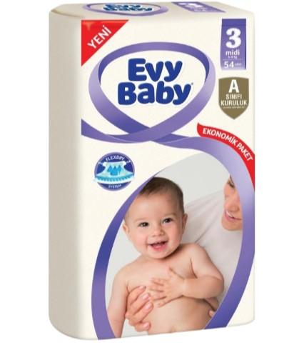 Evy Baby Bebek Bezi 3 Numara 54 Adet Jumbo 5-9 Kg