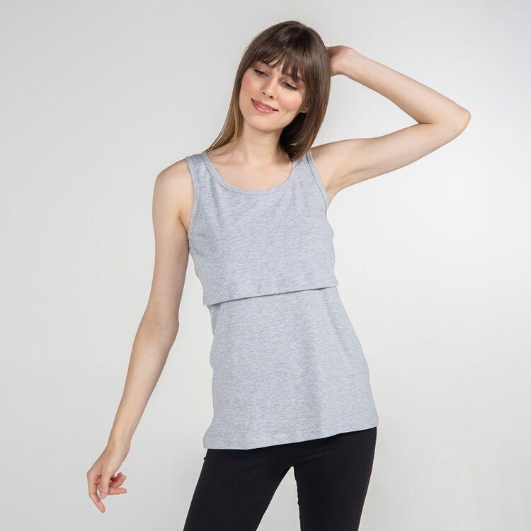 FUNNA MAMMA - Funna Mamma Atlet Yaka Emzirme T-Shirt Paola Gri XL