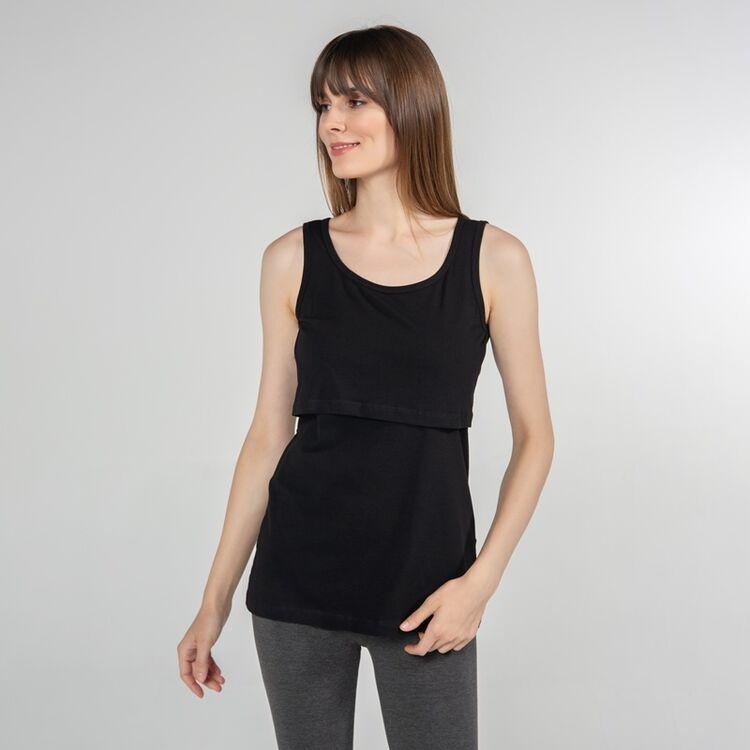 FUNNA MAMMA - Funna Mamma Atlet Yaka Emzirme T-Shirt Paola Siyah XL