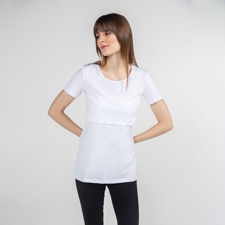 FUNNA MAMMA - Funna Mamma Bisiklet Yaka Emzirme T-Shirt Letizia Beyaz S