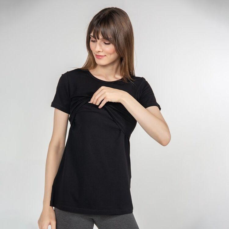 FUNNA MAMMA - Funna Mamma Bisiklet Yaka Emzirme T-Shirt Letizia Siyah L