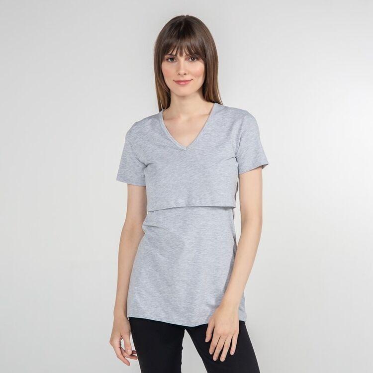 FUNNA MAMMA - Funna Mamma V-Yaka Emzirme T-Shirt Nora Gri L