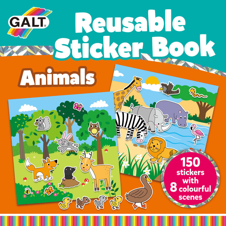 Galt - Galt Reusable Sticker Book - Animals 3 Yaş+