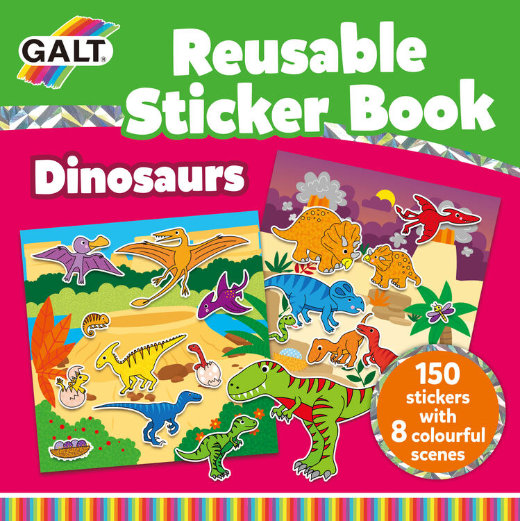 Galt - Galt Reusable Sticker Book - Dinosaurs 3 Yaş+
