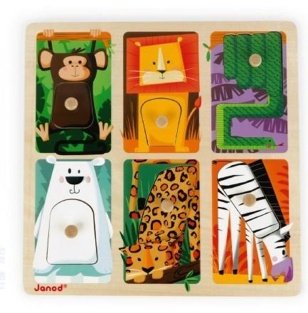 Janod - Janod Dokun Hisset Ahşap Puzzle (Hayvanlar)