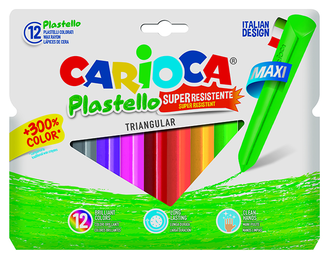 Carioca - Jumbo Üçgen Elleri Kirletmeyen Yıkanabilir Pastel Boya Kalemi 12Li