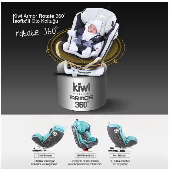 Kiwi Armor Rotate 360° Dönebilen 0-36 kg İsofix Yatarlı Oto Koltuğu - Siyah - Thumbnail