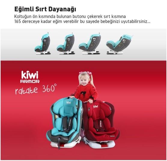 Kiwi Armor Rotate 360° Dönebilen 0-36 kg İsofix Yatarlı Oto Koltuğu - Kırmızı