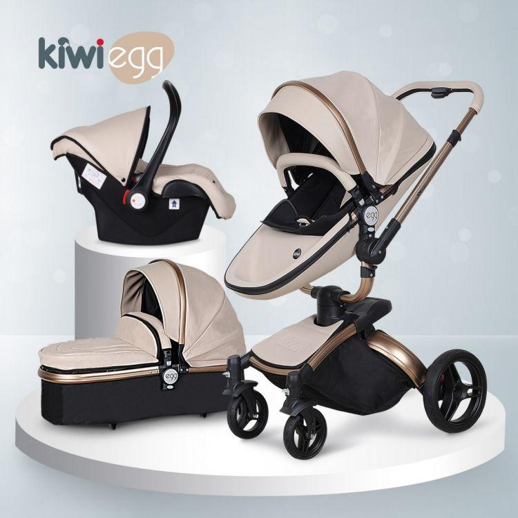 Kiwibaby - Kiwi Egg Deri Travel Sistem Bebek Arabası Krem
