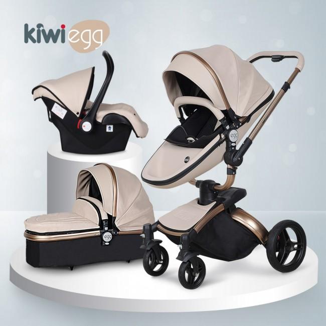 Kiwibaby - Kiwi Egg Deri 6 in 1 Travel Sistem Bebek Arabası Krem-Siyah