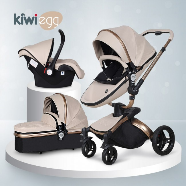 Kiwibaby - Kiwi Egg Deri Travel Sistem Bebek Arabası Krem-Siyah