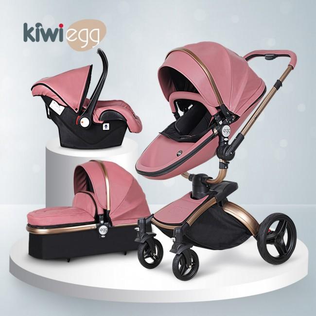 Kiwibaby - Kiwi Egg Deri Travel Sistem Bebek Arabası Mor-Siyah