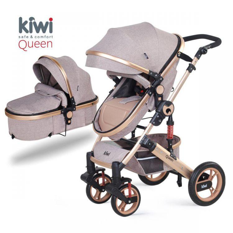 Kiwibaby - Kiwi Queen 2 İn 1 Mono Bebek Arabası+Portbebe Kahve Altın