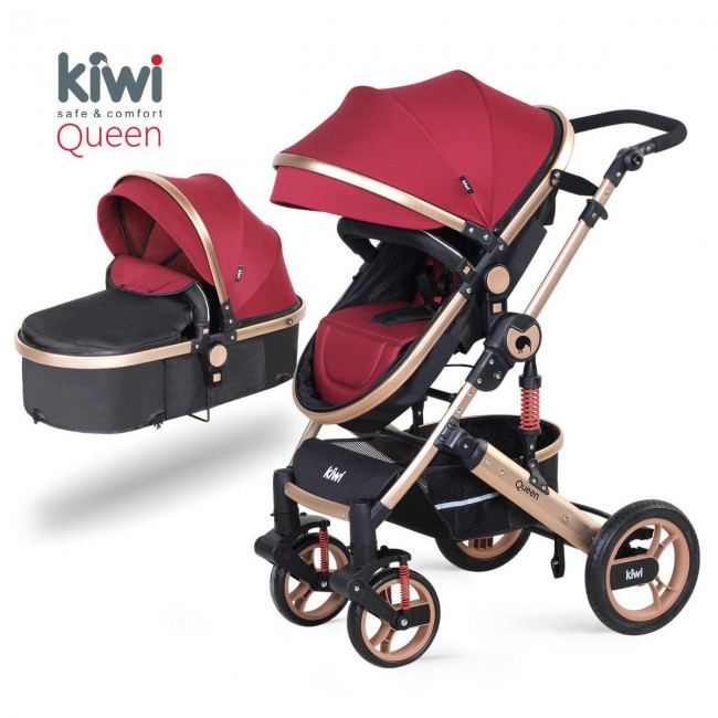 Kiwibaby - Kiwi Queen 2 İn 1 Mono Bebek Arabası+Portbebe Kırmızı Altın