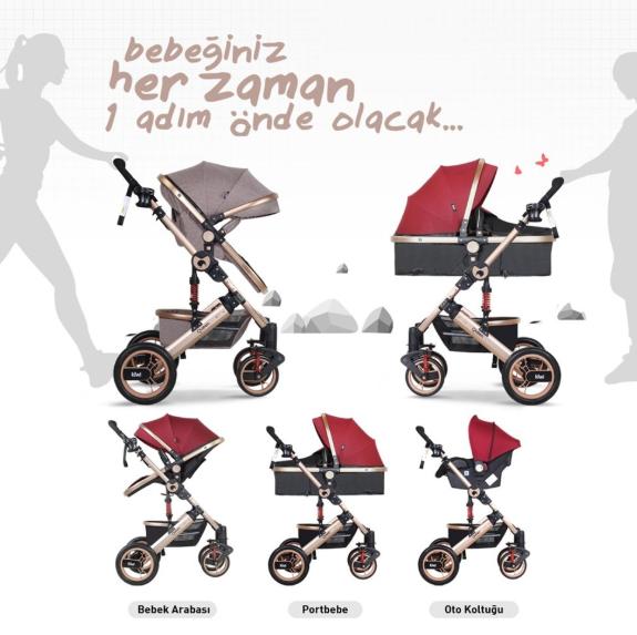 Kiwi Queen 3 İn 1 Travel Sistem Bebek Arabası Bej - Thumbnail