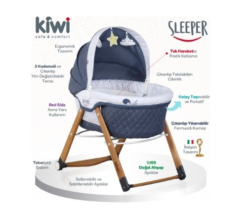 Kiwi Sleeper All İn One Naturel Ahşap Sallanabilen Katlanır Tekerli Bebek Beşiği Yaprak Desenli Bordo - Thumbnail