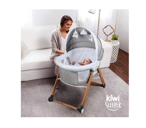 Kiwi Sleeper All İn One Naturel Ahşap Sallanabilen Katlanır Tekerli Bebek Beşiği Yaprak Desenli Vizon - Thumbnail