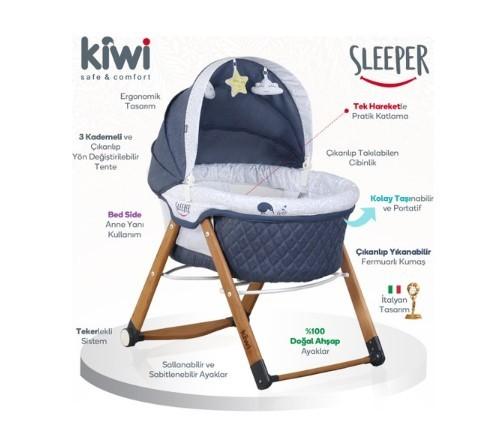 Kiwibaby - Kiwi Sleeper All İn One Naturel Beyaz Sallanabilen Katlanır Tekerli Bebek Beşiği Yaprak Desenli Bordo