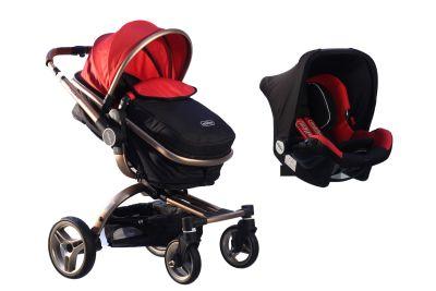 MallerBaby - Maller Baby Stella Twist Travel Sistem Bebek Arabası Gold Kırmızı