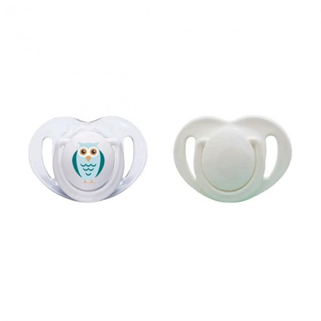 Mamajoo - Mamajoo Silikon Ortodontik İkili Emzik Beyaz Baykuş / 0 ay +