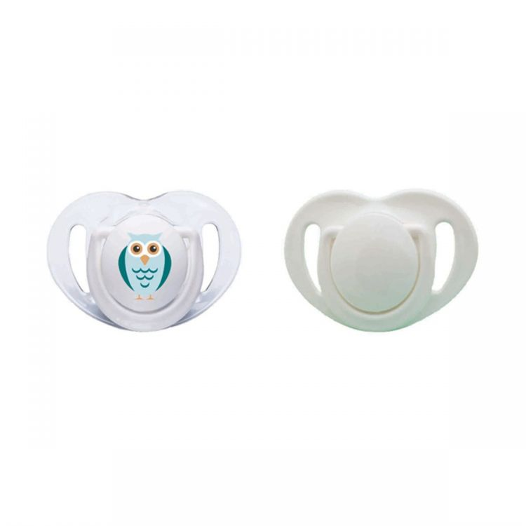 Mamajoo - Mamajoo Silikon Ortodontik İkili Emzik Beyaz Baykuş / 6 ay +
