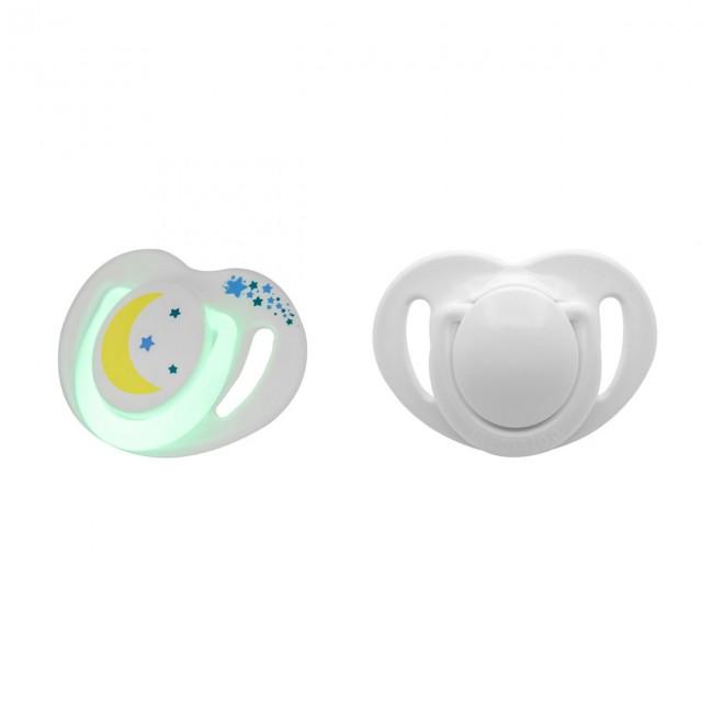 Mamajoo - Mamajoo Silikon Ortodontik İkili Emzik Gece - Gündüz / 0 ay +