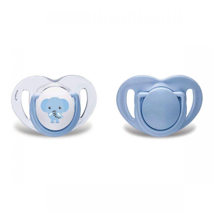Mamajoo - Mamajoo Silikon Ortodontik İkili Emzik Mavi Fil / 6 ay +