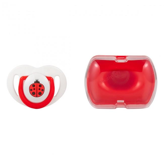 Mamajoo - Mamajoo Tekli Desenli Emzik & Renkli Saklama Kutusu 0 ay+/ Uğur Böceği