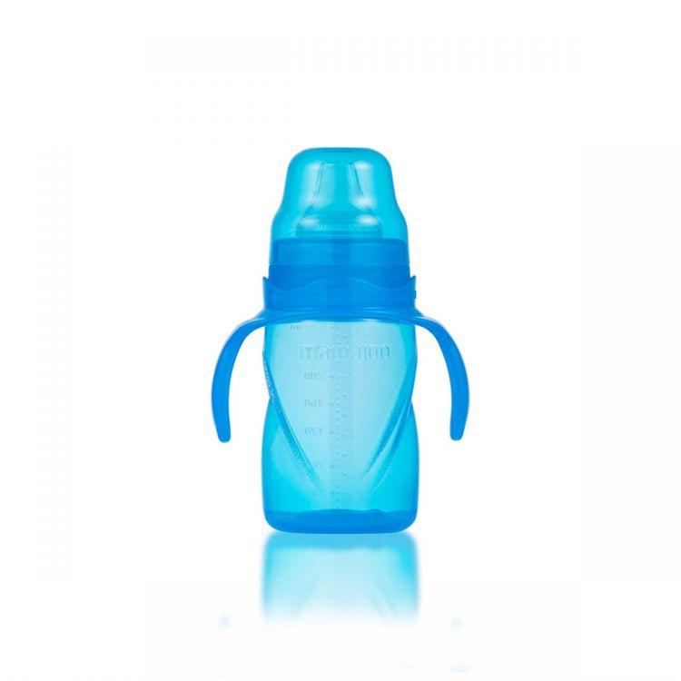 Mamajoo - Mamajoo Yumuşak Uçlu Damlatmaz Eğitici Bardak 270ml / Mavi