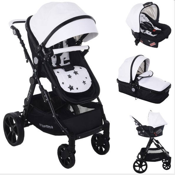 Mamma - Mamma Badger Exclusive Deri Konsept Travel Bebek Arabası - Beyaz