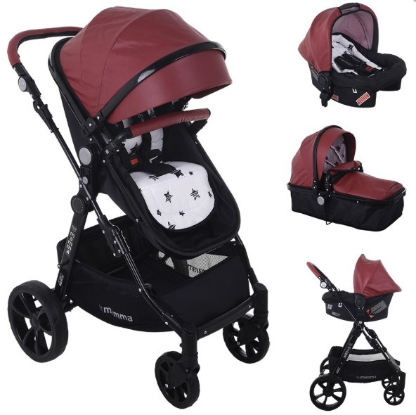 Mamma - Mamma Badger Exclusive Deri Konsept Travel Bebek Arabası - Bordo