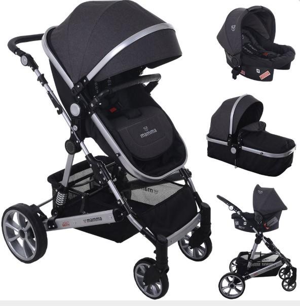 Mamma - Mamma Eagle Travel Sistem Amortisörlü Bebek Arabası - Antrasit