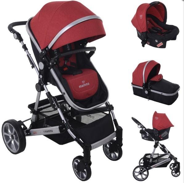 Mamma - Mamma Eagle Travel Sistem Amortisörlü Bebek Arabası - Bordo