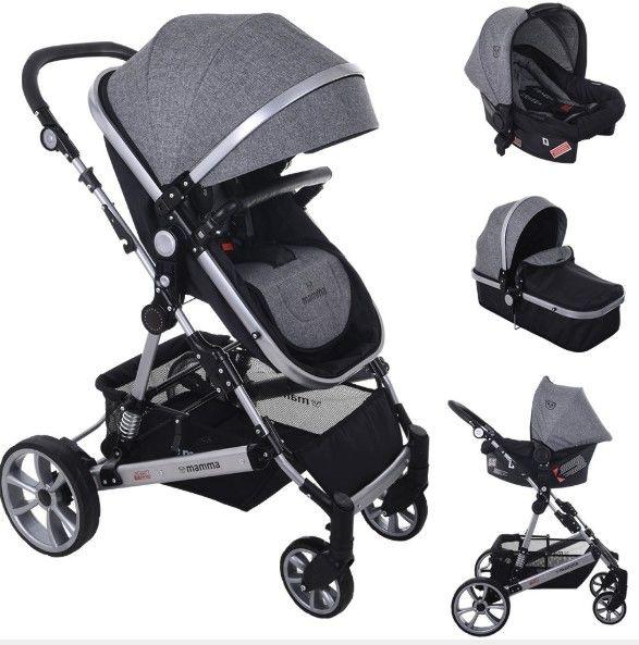 Mamma - Mamma Eagle Travel Sistem Amortisörlü Bebek Arabası - Gri