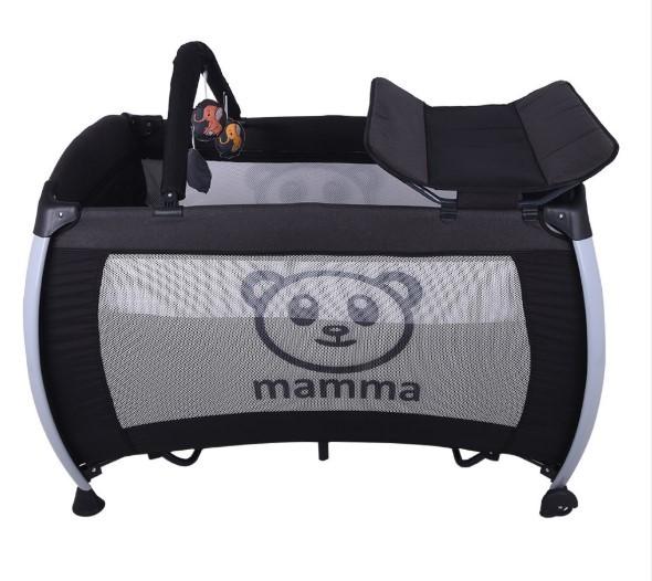 Mamma Hippo Alüminyum Park Yatak Beşik - Antrasit - Thumbnail