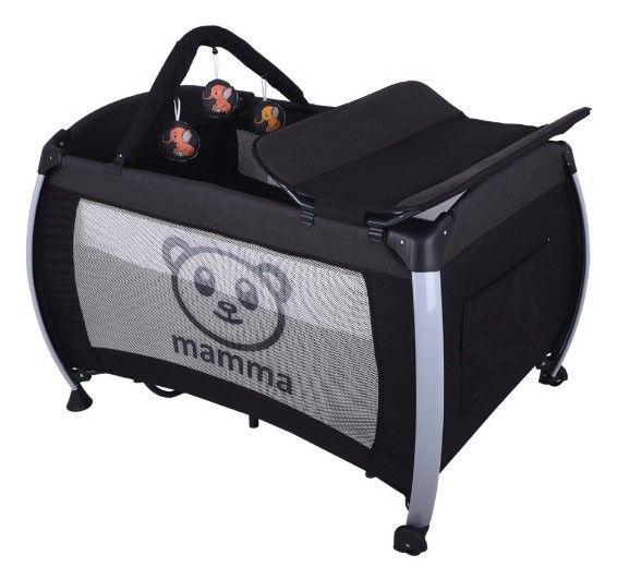 Mamma - Mamma Hippo Alüminyum Park Yatak Beşik - Antrasit ( Yatak Hediyeli )