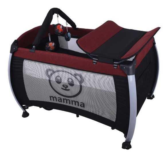 Mamma Hippo Alüminyum Park Yatak Beşik - Bordo