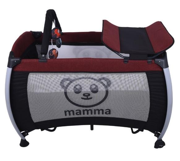Mamma Hippo Alüminyum Park Yatak Beşik - Bordo - Thumbnail