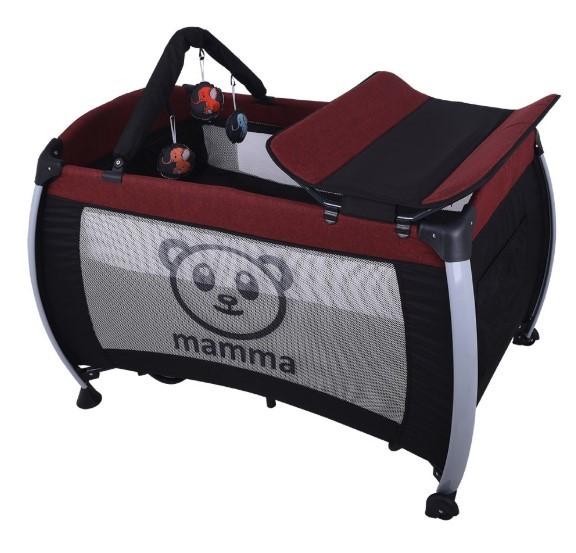 Mamma - Mamma Hippo Alüminyum Park Yatak Beşik - Bordo