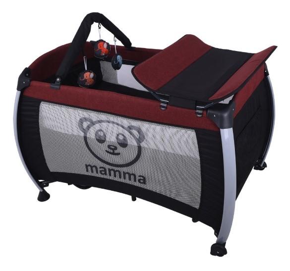 Mamma - Mamma Hippo Alüminyum Park Yatak Beşik - Bordo ( Yatak Hediyeli )
