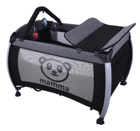 Mamma - Mamma Hippo Alüminyum Park Yatak Beşik - Gri