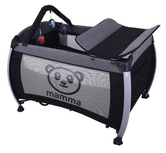 Mamma - Mamma Hippo Alüminyum Park Yatak Beşik - Gri ( Yatak Hediyeli )