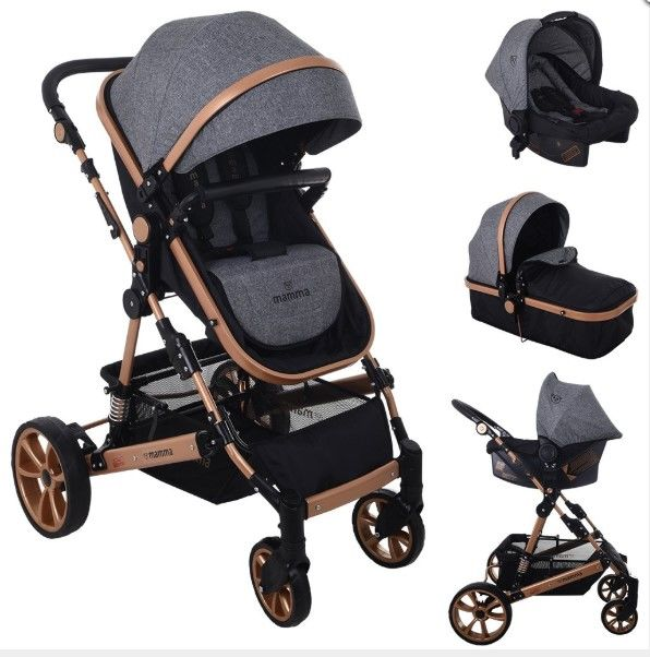 Mamma - Mamma Lion Gold Travel Sistem Amortisörlü Bebek Arabası - Gri
