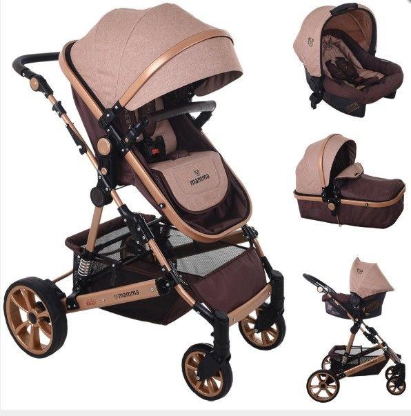 Mamma - Mamma Lion Gold Travel Sistem Amortisörlü Bebek Arabası - Kahve