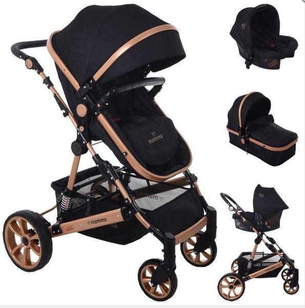 Mamma - Mamma Lion Gold Travel Sistem Amortisörlü Bebek Arabası - Siyah
